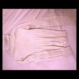 White cable knit turtle neck